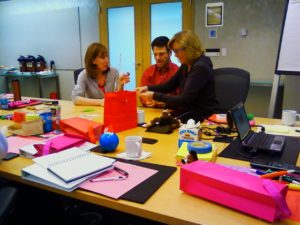 Meydenbauer team completing the Marshmallow Challenge!